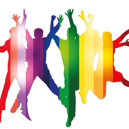 jugendliche gruppe: Party people Vektor-Hintergrund
