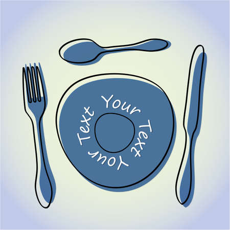 Abstract cutlery and plate Vector