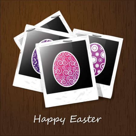 Photoes on a Wooden Surface Happy Easter Card Vector