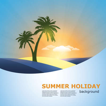 Palm in an island - abstract summer holiday background  Vector