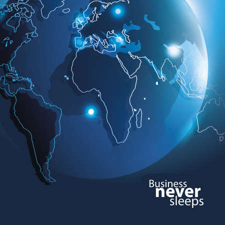 sleeps: Business Never Sleeps - Corporate Background Vector Concept with Blue Earth Design