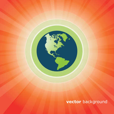 Sun Rays and Earth Vector Vector