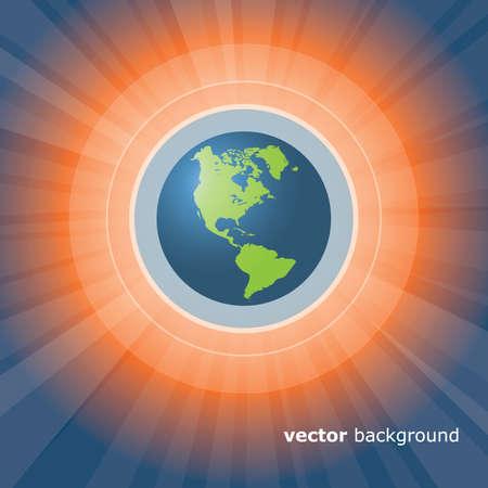 Sun Rays and Earth Vector Stock Vector - 11788149