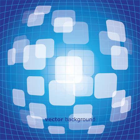 warped: 3D warped squares on blue background vector Illustration