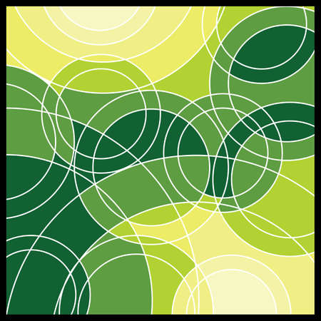 Green and Yellow Circles - Abstract Geometric Mosaic Background Vector
