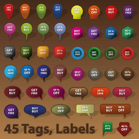 45 Selling Badges, Tags, Labels Stock Vector - 11344438