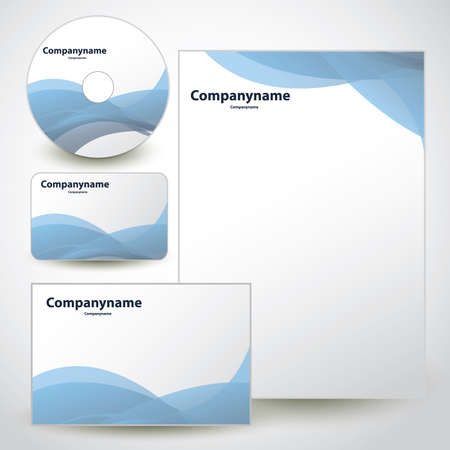 Business Set:  Envelope, Business Card, CD, Notepaper Vector