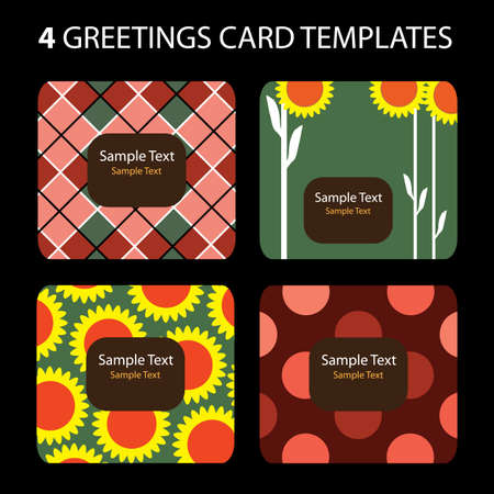 4 Greeting Cards Vector