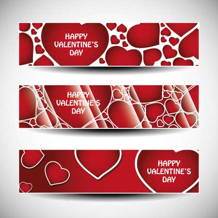Vector set of three Valentines Day header designs  Vector