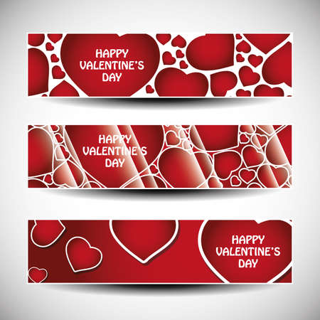 Vector set of three Valentines Day header designs  Vector