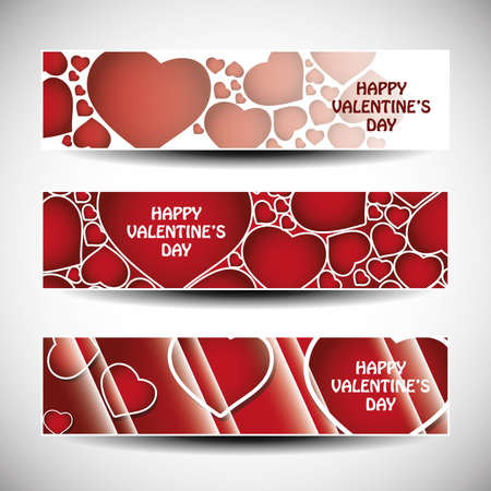 Vector set of three Valentines Day header design  Vector