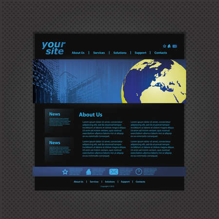 Blue Website Template Vector