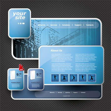 3D Website Template Vector