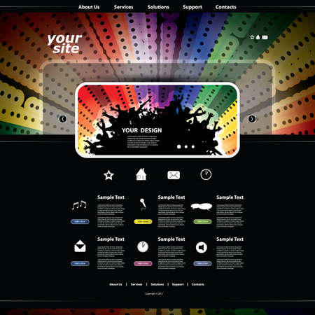 Music Website Template Vector