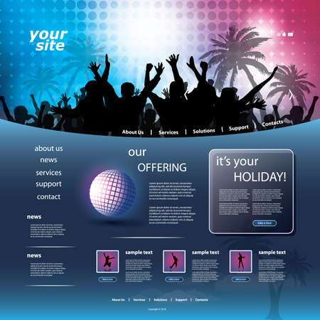 net bar: Party Website Template Illustration