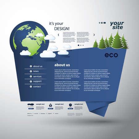 Origami Eco Website Vector