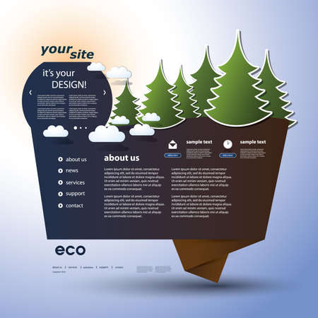 Origami Eco Website Template Vector