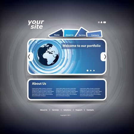 navigation buttons: Website template Illustration