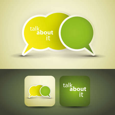 dialog bubble: Talk about it - flyer or cover design