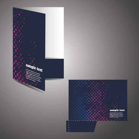 file folders: Corporate folder with die cut design Illustration