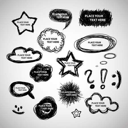 exclamacion: Colección de expresión dibujados a mano y burbujas de pensamiento - Antecedentes Vector Vectores