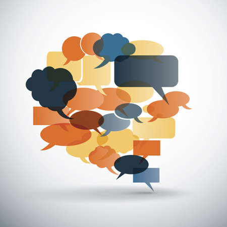 Big speech bubble made from small bubbles with retro colors  Vector