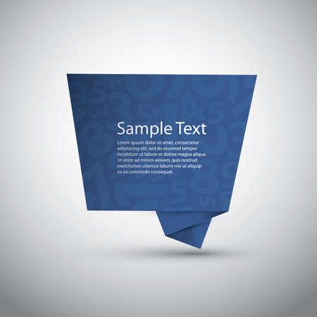 paper origami: Blue Speech Bubble