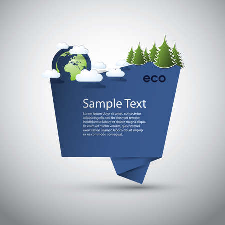 Blue Eco Speech Bubble  Vector
