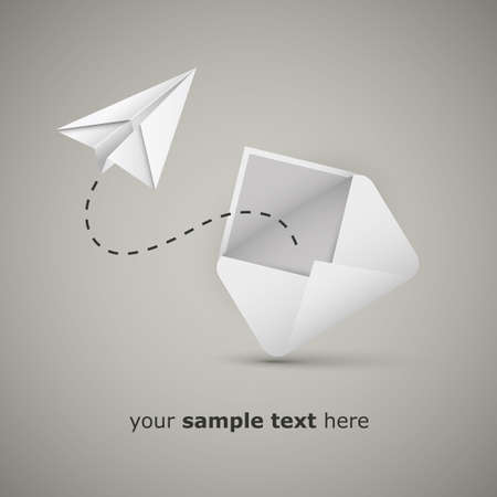 Message from an envelope - Paper airplane  Vector