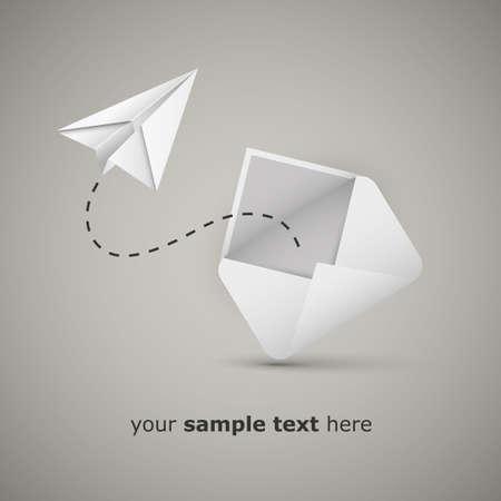 papierflugzeug: Nachricht von einem Umschlag - Paper Airplane Illustration