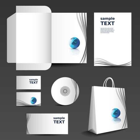 card folder: Stationery template design - business set