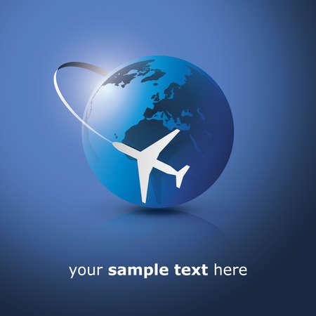 airplane icon: Globe design with airplane Illustration