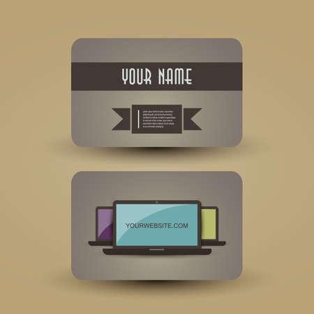 Retro Business Card Template Vector
