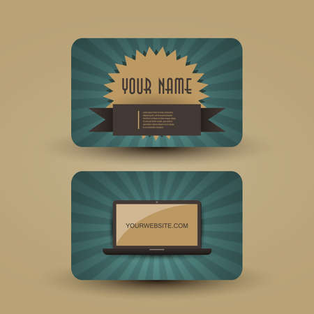 picture card: Retro Business Card Template Illustration