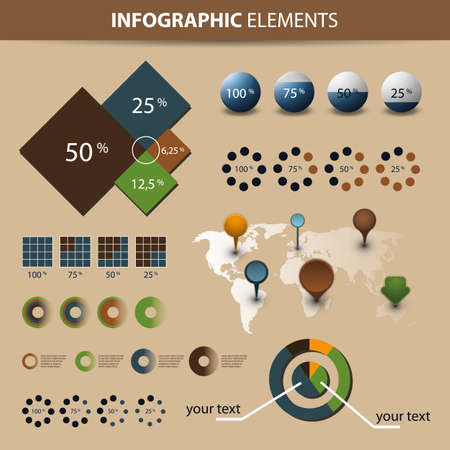 computer graph: Infographic Set - World Map and Information Graphics