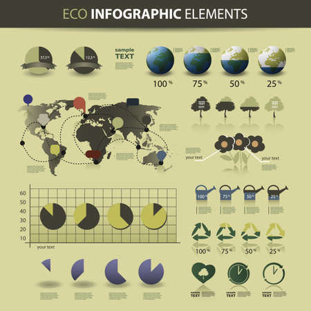 Eco Infographic Elements - World Map and Information Graphics Vector