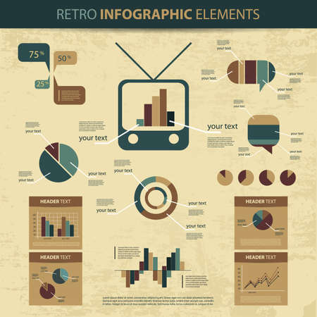 retro circles: Retro set of info graphic elements