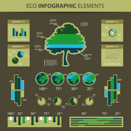 Eco Infographic Elements - World Map and Information Graphics Stock Vector - 14047090