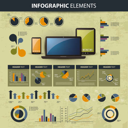 percent: set of infographic elements