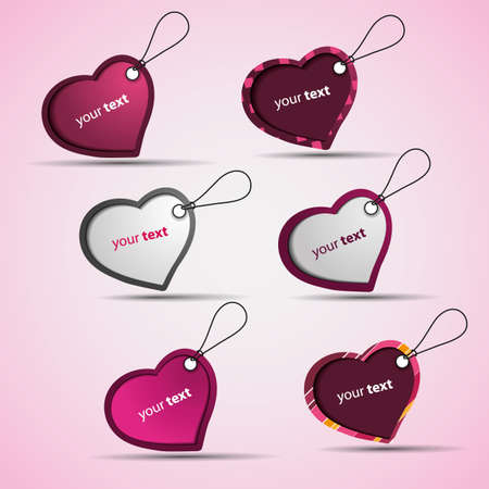 Heart Labels, Tags Vector