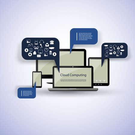 estação de trabalho: Conceito de computa��o em nuvem Ilustra��o