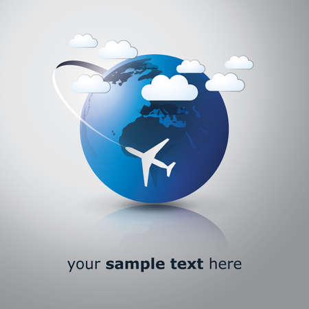 Globe design with airplane Vector