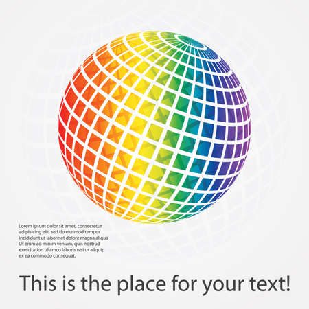 rainbow sphere: Colorful digital globe design