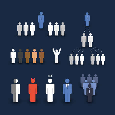 multi ethnic group: Figures and People Icons - Business and Team Work Concept