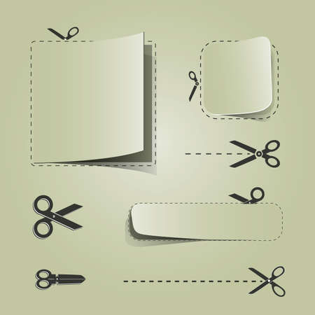 buono sconto: Coupon pubblicitari in bianco con le forbici Vettoriali