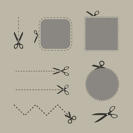 scissors icon: Blank advertising coupons with scissors Illustration