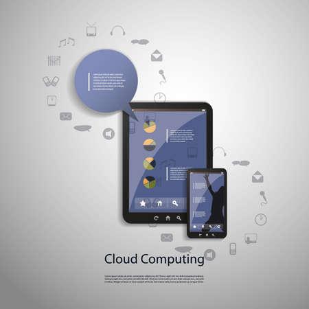 mobile technology: Cloud computing concept Illustration