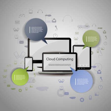 tecnologia: Il cloud computing concetto Vettoriali