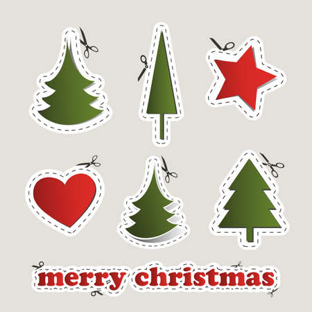 Blank Christmas Labels with Scissors Vector
