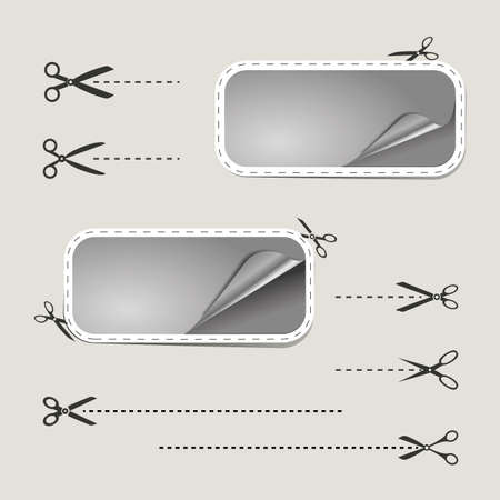 cutoff: Blank advertising coupons with scissors Illustration